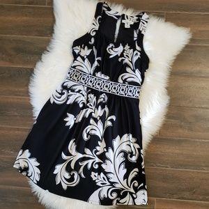 White House Black Market Dresses - B2G1 WHBM Black/White Scroll Keyhole Tank Dress